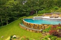Sloped Backyard Pool Landscaping Ideas | sloped back yard ...
