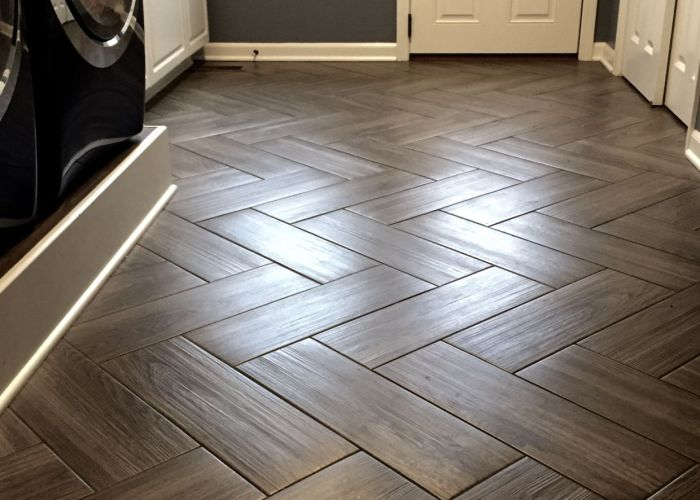 Gray color tile herringbone pattern perfect for my back door room that acts as mud pet space office  would not change anything also best images about tricey bathroom on pinterest showers