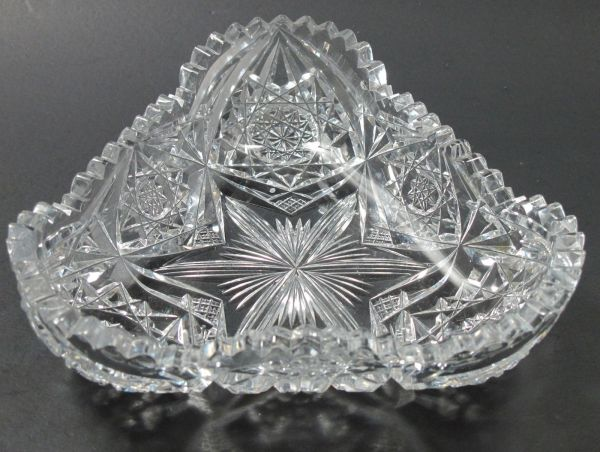 Signed Libbey Triangle Dish American Brilliant Period Hand