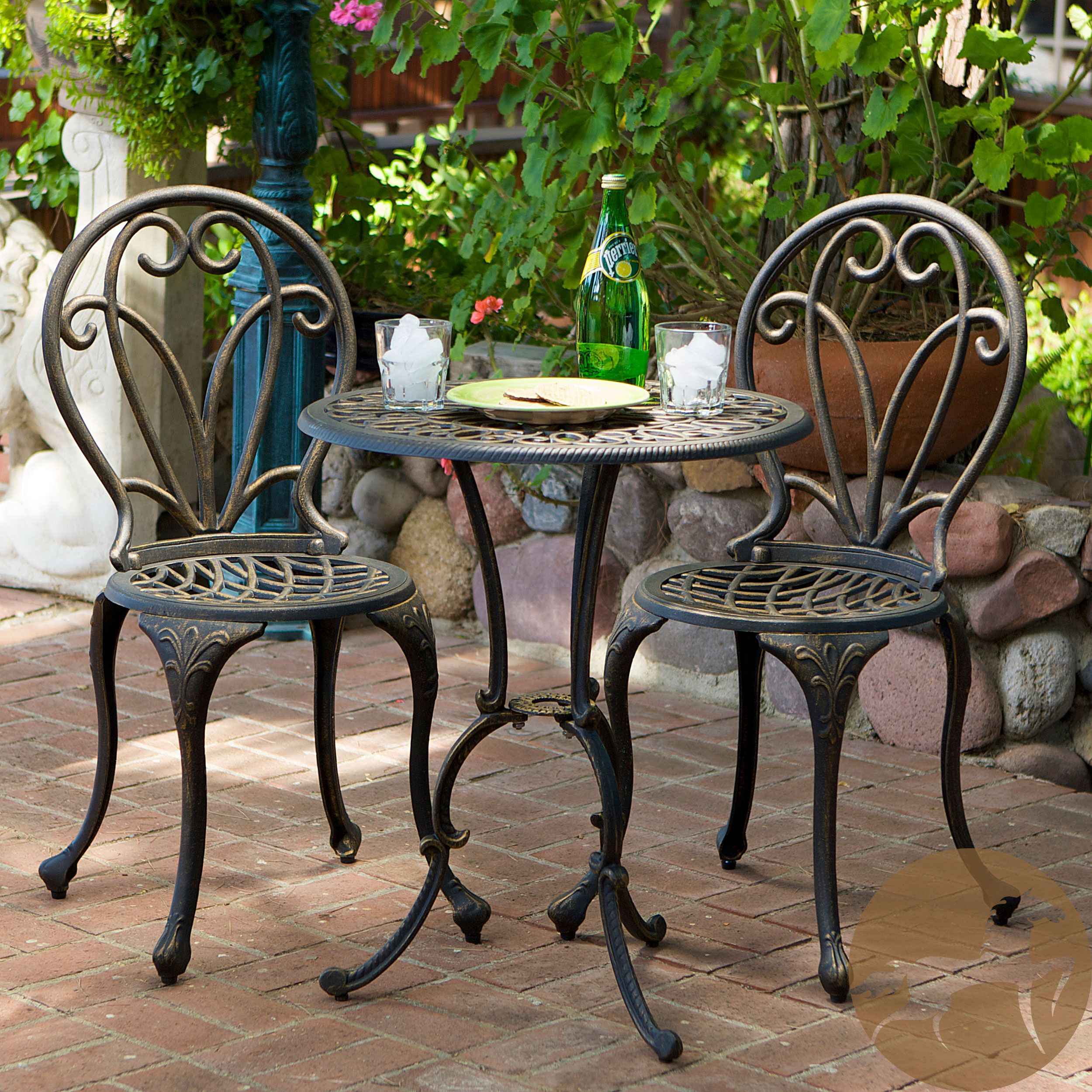 2 chairs and table patio set tempur pedic office chair tp8000 reviews this french style outdoor bistro will lend classy
