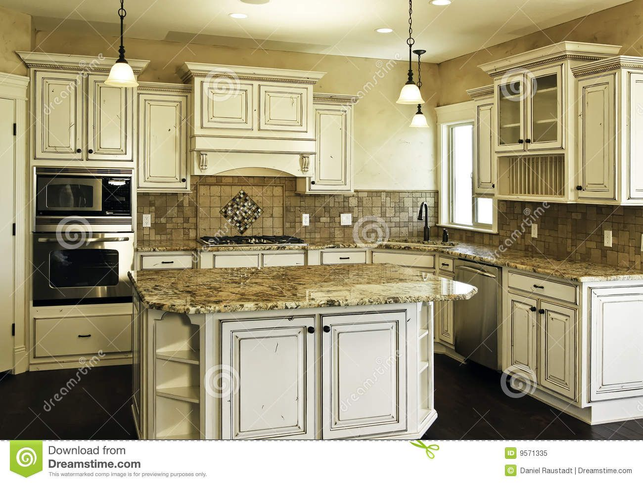 White Distressed Kitchen Cabinets