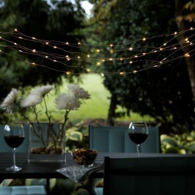 Hampton Bay Outdoor Solar Powered 50Light Integrated LED Copper String Light Set