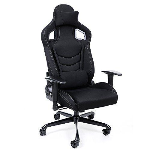 songmics chaise fauteuil siege de bureau racing sport avec support lombaire et coussin noir rcg03h http