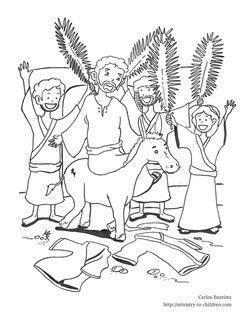 This free coloring sheet shows Jesus riding into Jerusalem