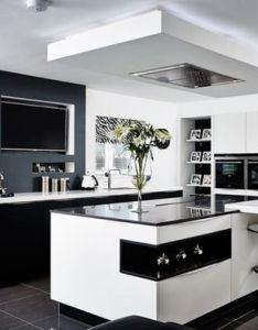 Image result for black and white kitchen designs also home reno rh pinterest
