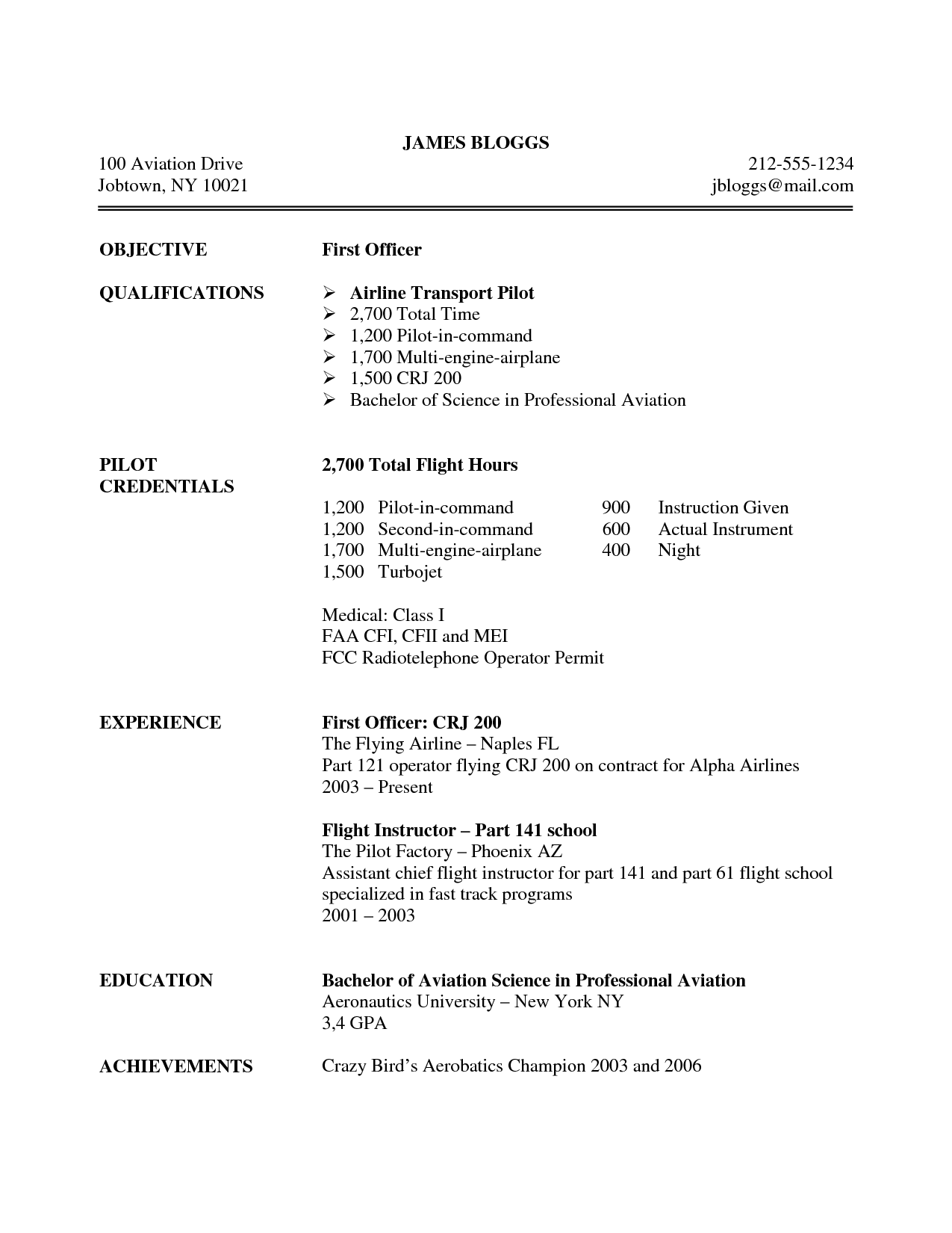 pilot resume objective examples