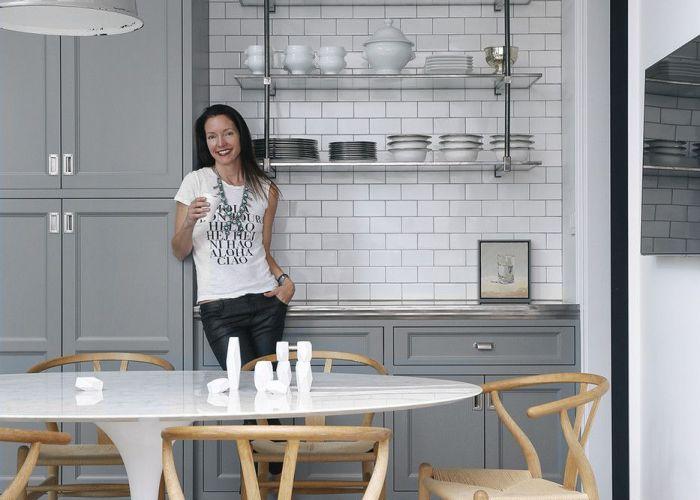 Gray  white kitchen open shelving glass chrome marble wishbone chairs also pinterest