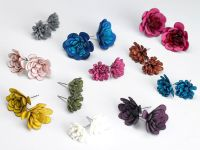 Leather Flower Stud Earrings | Leather | Pinterest ...
