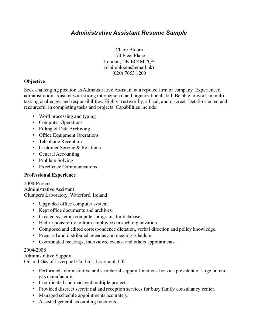 Sample Resume Receptionist Administrative Assistant  Example Of Objective On Resume