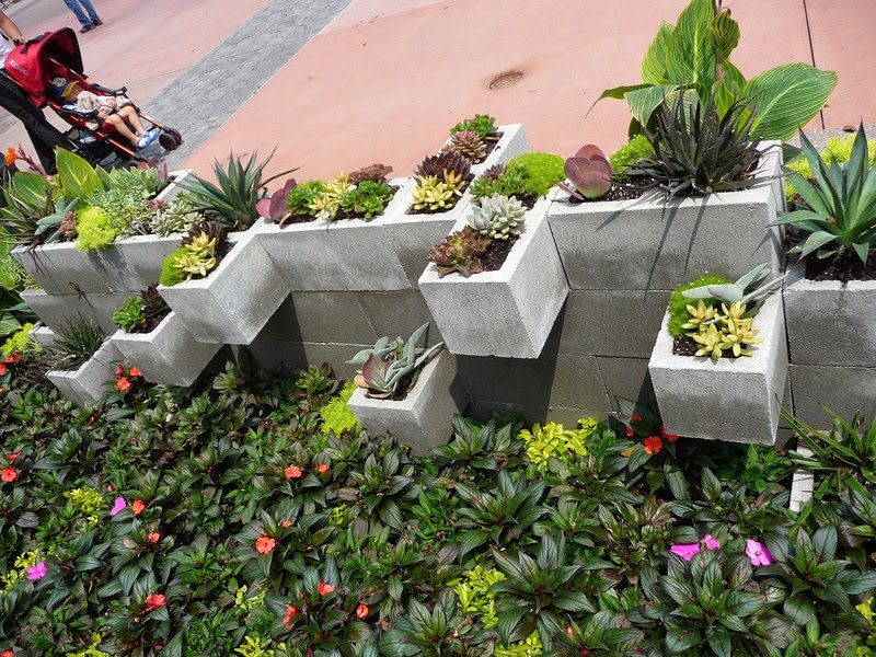 The Crafty Garden Girl DIY Cement Brick Planters Ideas From