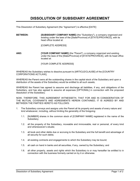 Partnership Dissolution Agreement Template & Sample Form