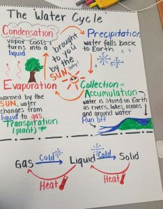 Water cycle anchor chart with states of matter also this cute crown is for little ones learning about the rh it pinterest