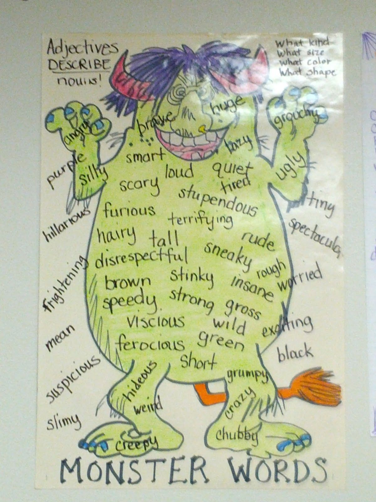 Monster Grammar Worksheet