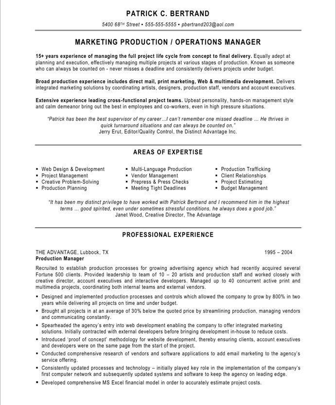 Marketing Production Manager Marketing Resume Samples
