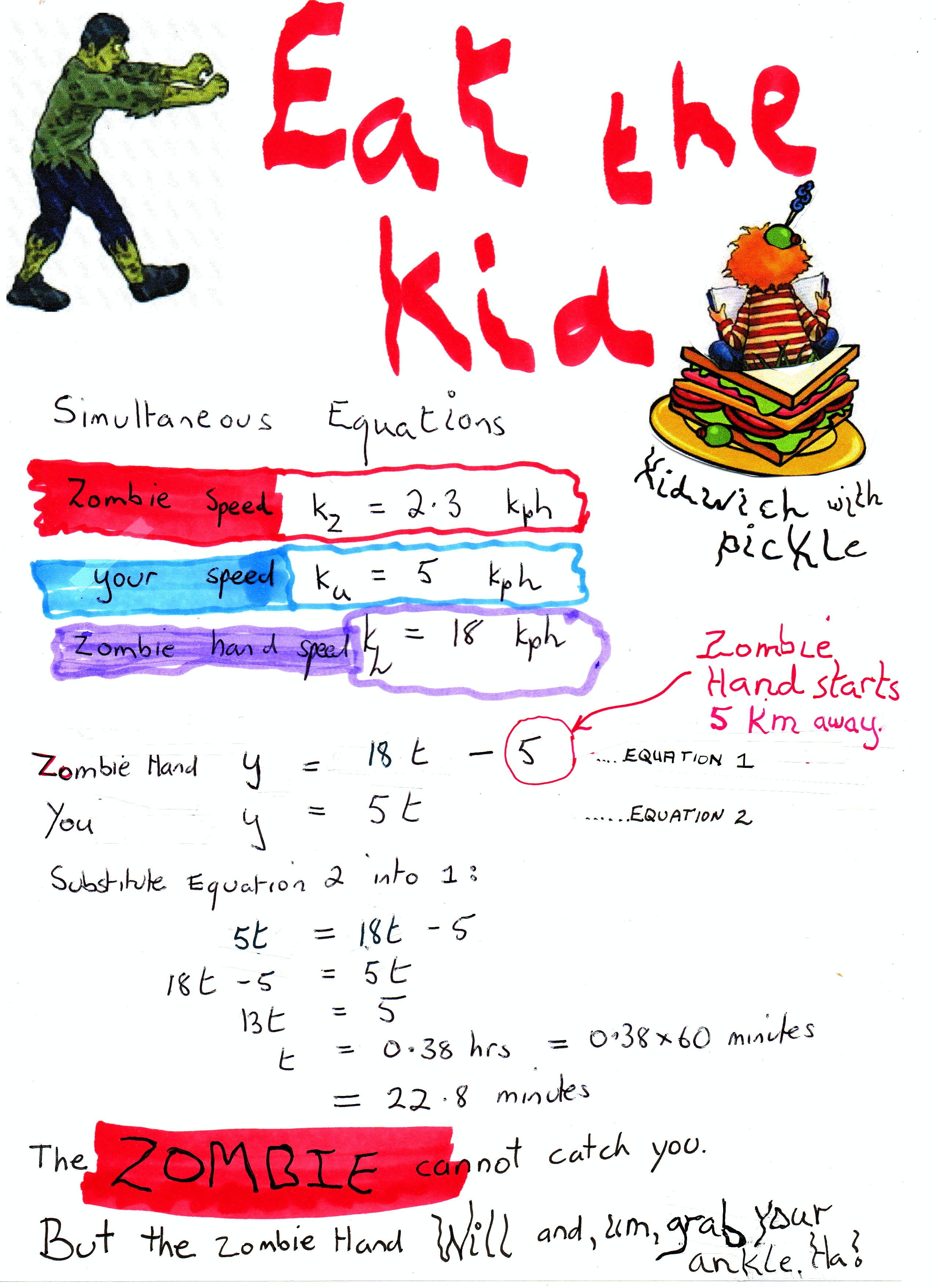 Zombie Maths 4 Simultaneous Equations