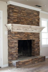 Fireplace update. Create a mantle that slips over the top ...