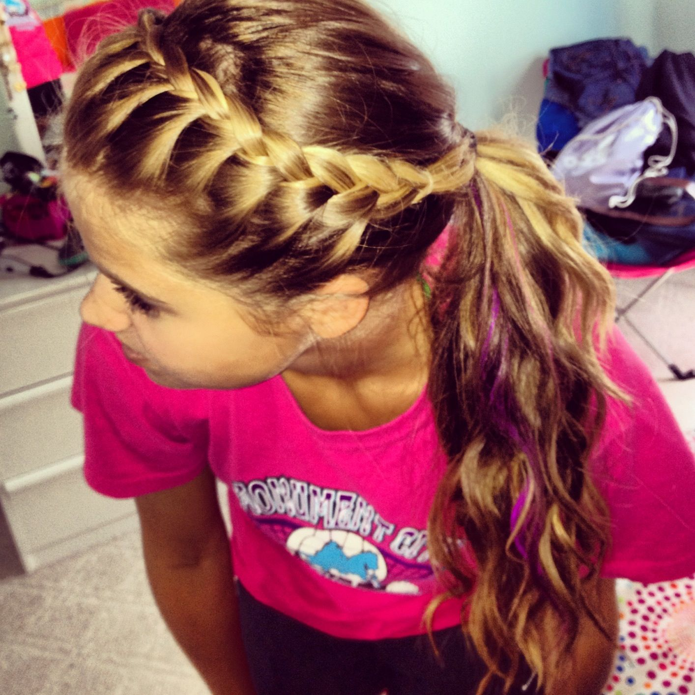 French Braid Your Bangs And Pull Back Into Ponytail Easy To Do