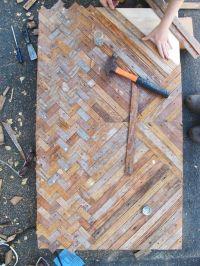 reclaimed wood table top: unique chevron pattern ...