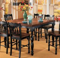 Butterfly Leaf Counter Height Table - Black & Cherry Stain ...