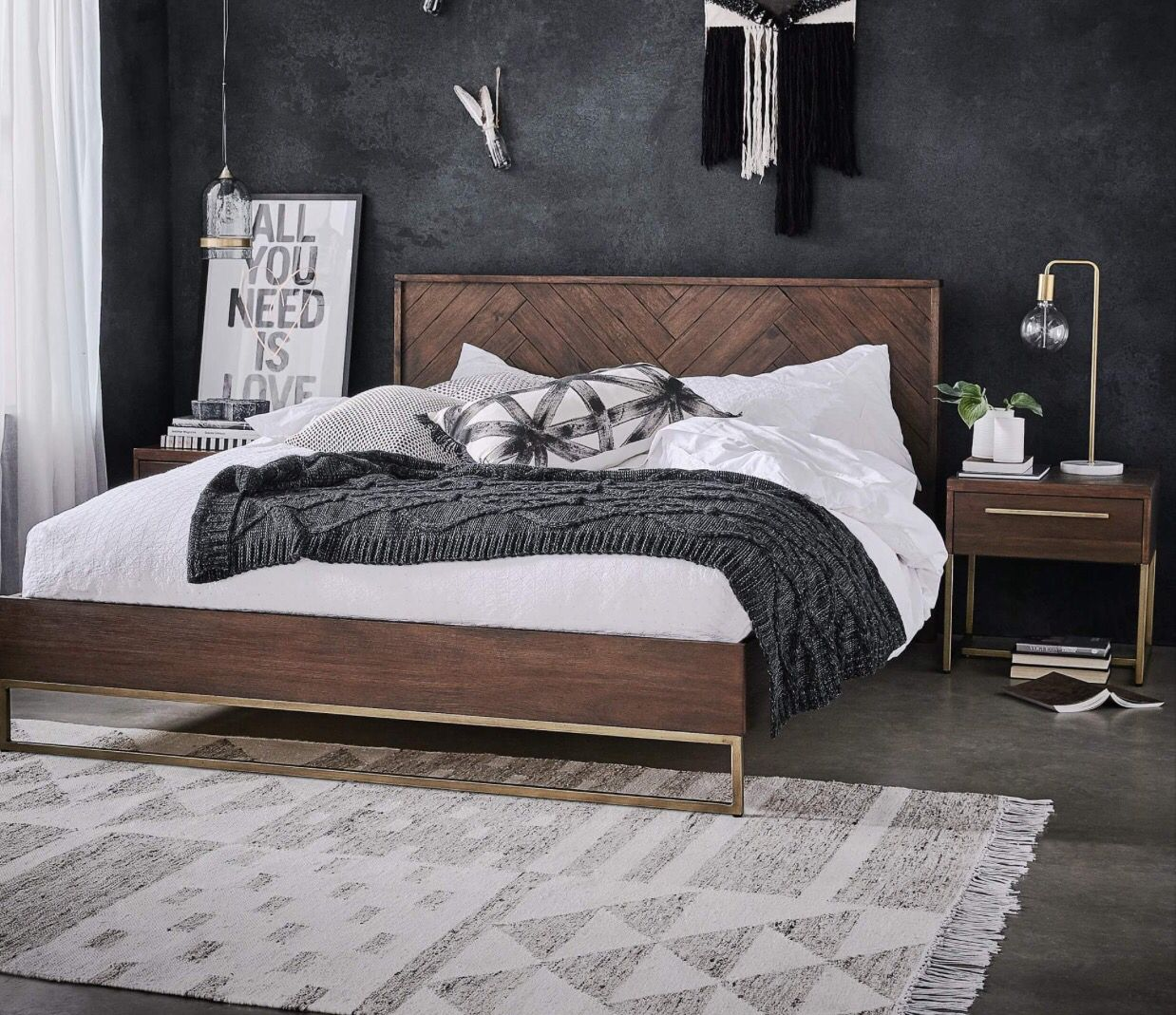 Parque King Bed In Cafebrass Colour Freedom Furniture