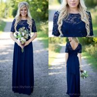 2017 Country Style Navy Blue Bridesmaid Dresses Sheer Crew ...