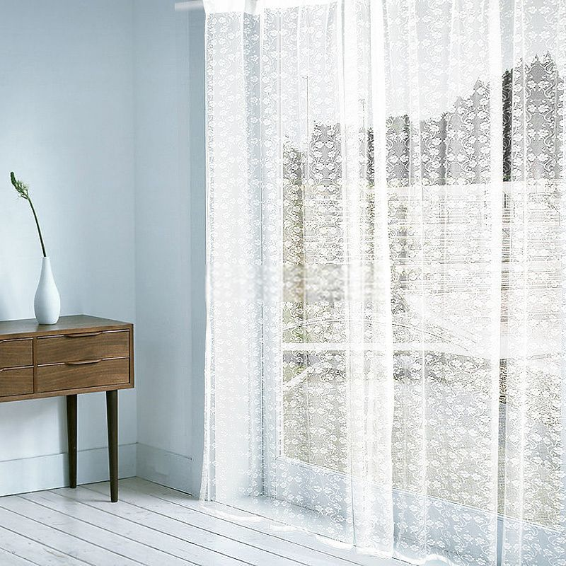 Timeless White Sheer Curtain With Delicate Floral Patterns