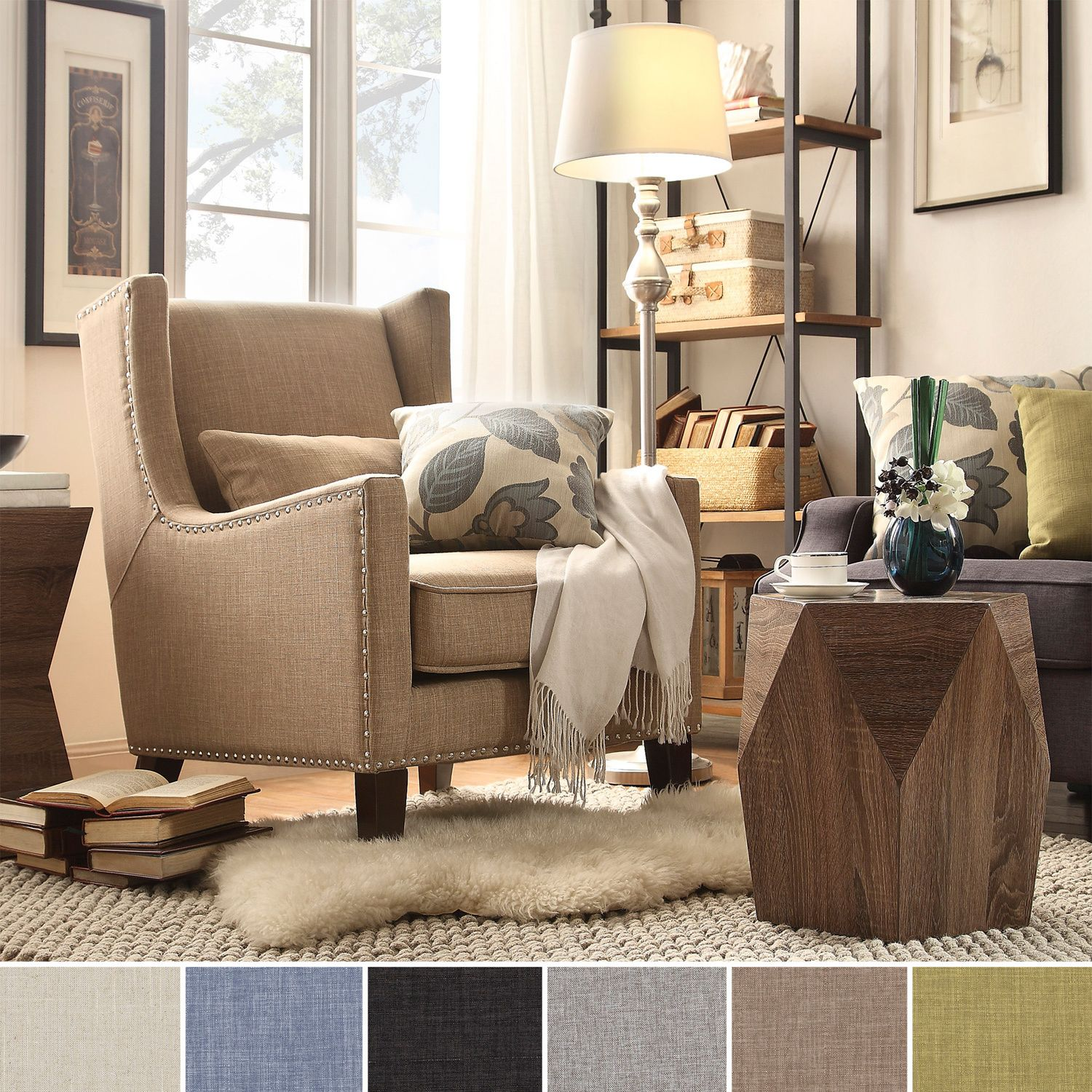 overstock arm chair covers knoxville tn inspire q henry wingback nailhead upholstered club