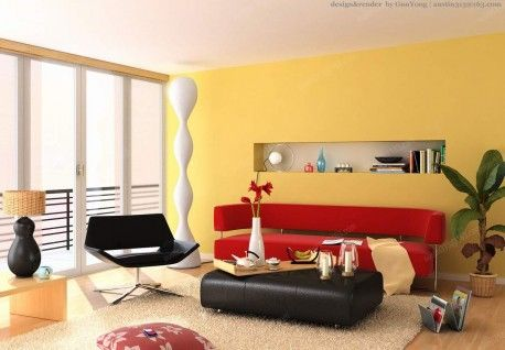 Decorating paint the walls or ceiling first interior wall color schemes in living room with yellow and red sofa white rugs black chair also photography homietips coloring rh pinterest