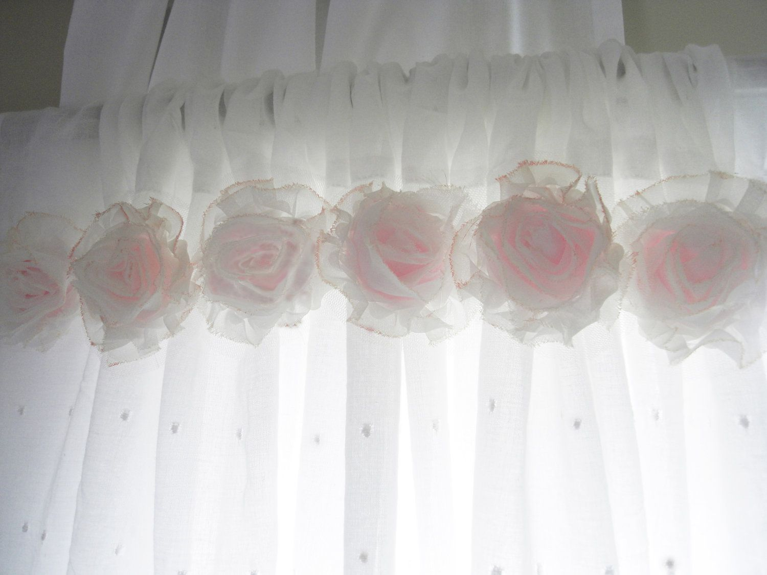 Shabby Chic Pink Flower Curtains Baby Nursery Curtains Girls