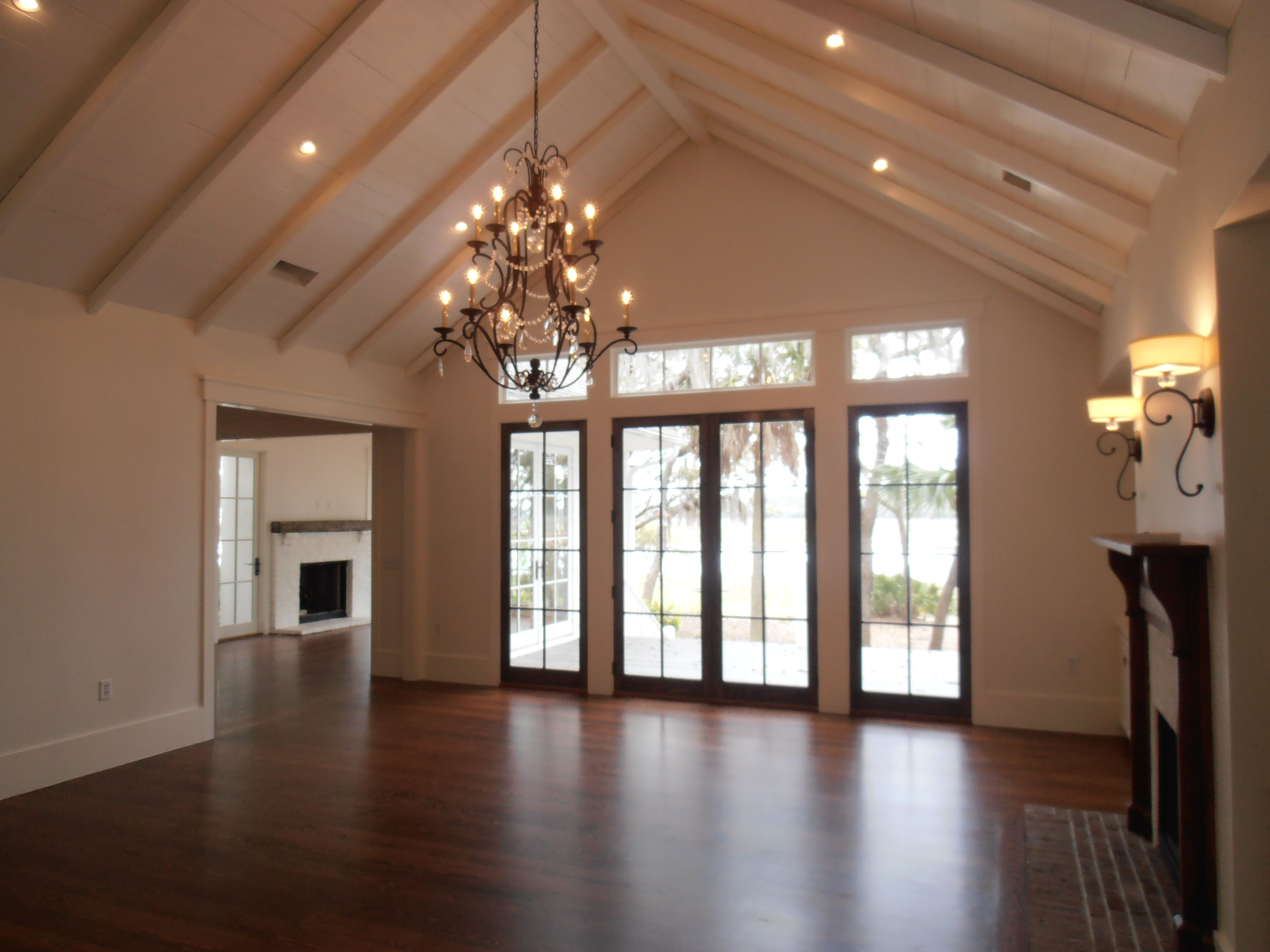 Buttboard ceiling treatment with beams, cathedral ceiling
