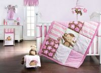 Sweet Monkey 4pc Bedding Set 367376492 | Baby Girl Bedding ...
