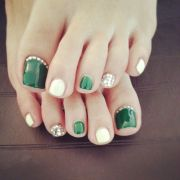green white and silver toes nails