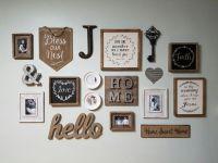 Farmhouse/rustic inspired gallery wall. Hobby lobby 50% ...
