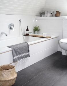 like the large grey floor tile in this minimal bathroom also   bb edacbe fb rustykalne azienki pinterest rh