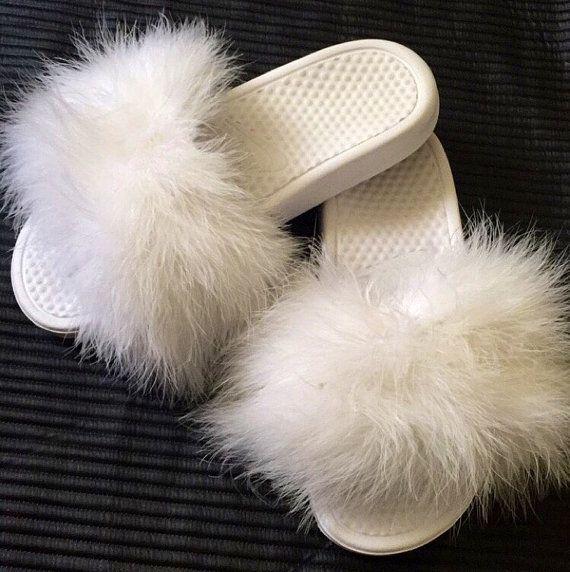 Faux Fur Nike Slippers WHITE  Faux Fur Slides  Sandals
