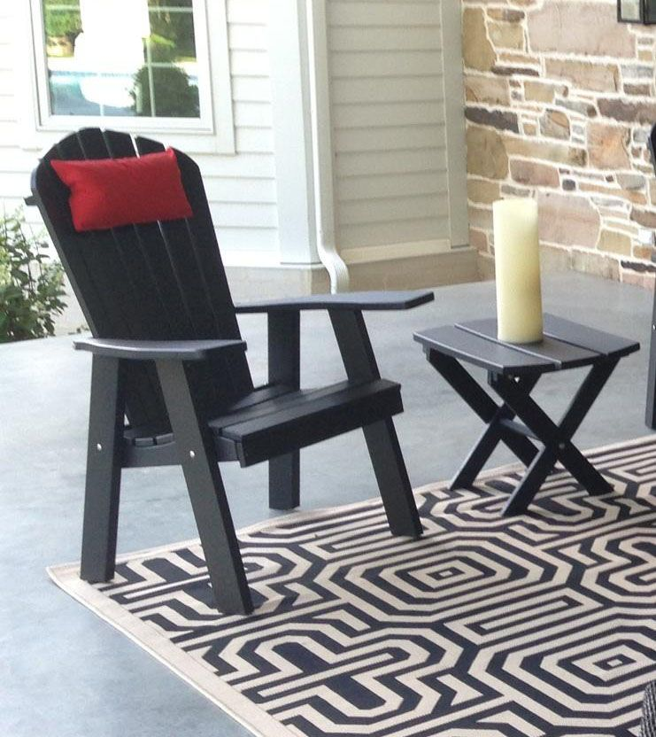 Polywood Upright Adirondack Chair  black Pictured with