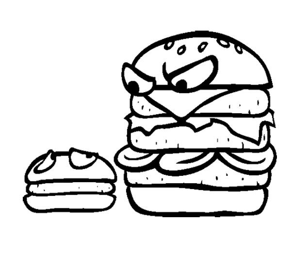 Junk Food Big Burger And Small Burger Coloring Page For
