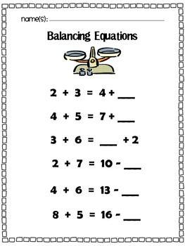Hands-on math: Balancing equations! Students use a balance