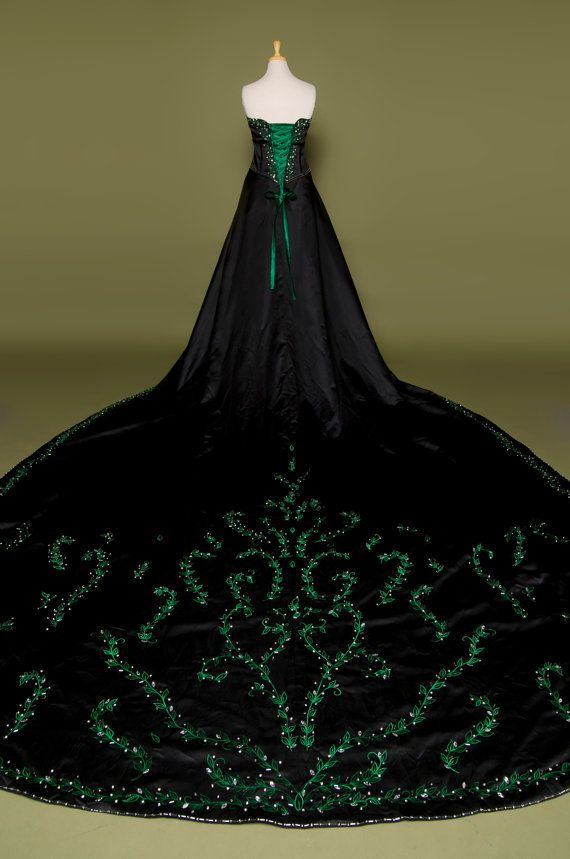 Gorgeous Gothic goth style wedding dress with green