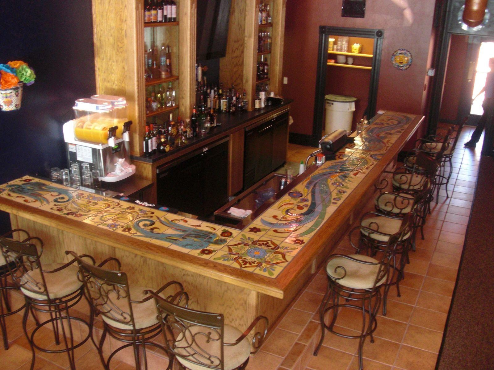 Custom Hand Glazed Tile Bartop  Products I Love  Pinterest  Glazed tiles Bar and Basements
