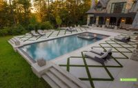 rectangle pools with grass decks | The large pool deck in ...