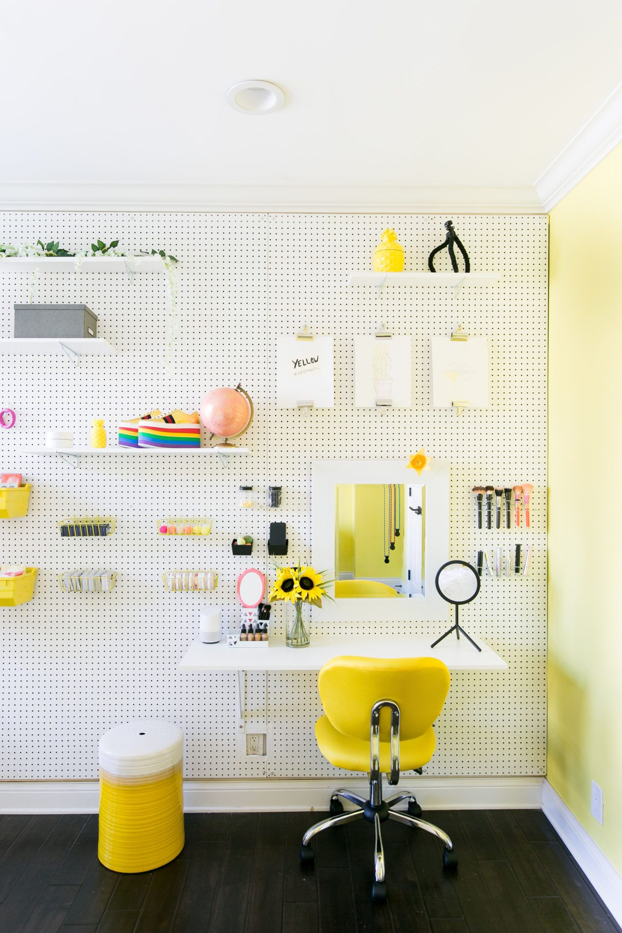 Diy pegboard wall yellow bedroomsbedroom makeoversbedroom ideasroom also girls rooms baby girl room decor and rh pinterest