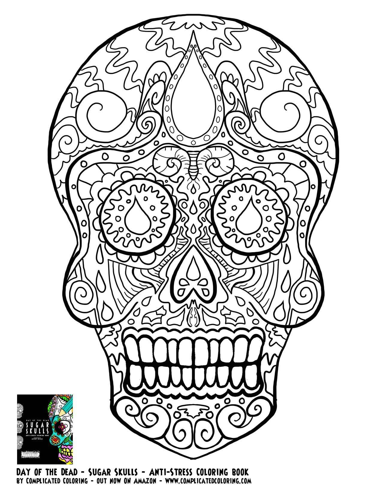 Day Of The Dead Dia De Los Muertos Sugar Skull Coloring