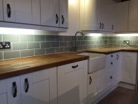 Our kitchen. Fitted ourselves. Tiled ourselves. Sage metro ...