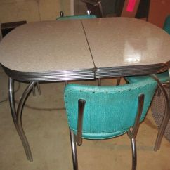 1950s Formica Kitchen Table And Chairs Linen Towels Retro X Leaf Good