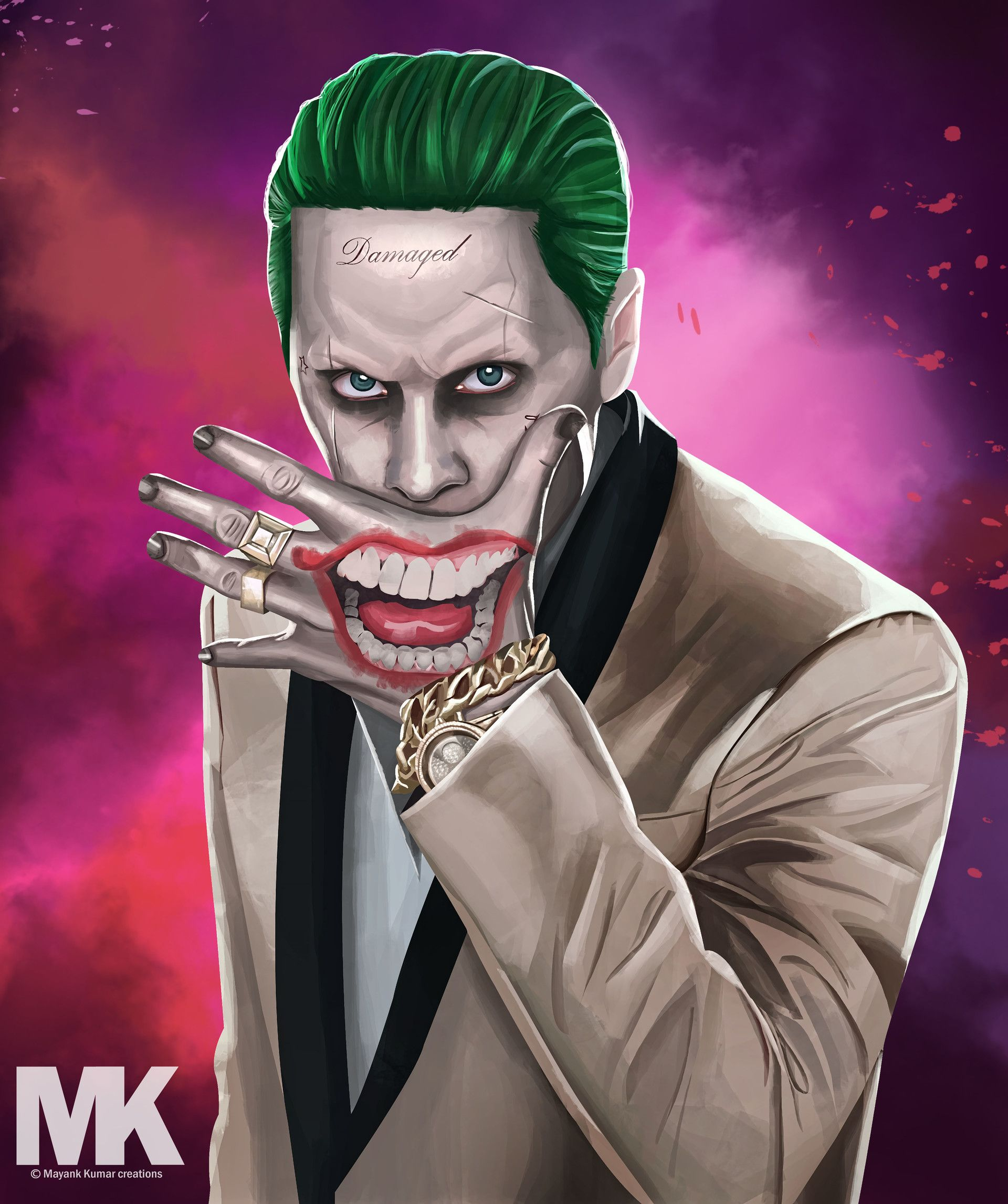 Suicide Squad Joker Hand Tattoo
