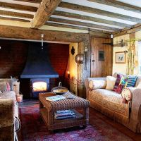 Country living room with oak beams