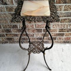 Folding Camp Rocking Chair Inexpensive Waiting Room Chairs Antique Victorian Wrought Iron Plant Candle Stand Table Marble Top 30