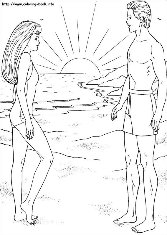 Barbie coloring picture barbie and ken beach swim