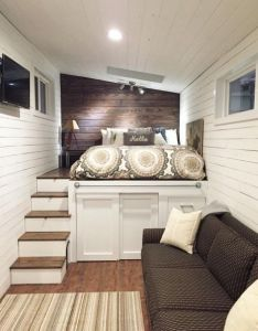 Couple   wandering on wheels tiny home couldn  get  picture of everything also images about our little beach cabin pinterest stair rh
